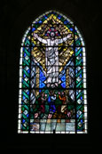 Photograph of the stained glass window which is found in the Crypt of Rosslyn Chapel, Roslin, Scotland. Made famous in Dan Brown's novel The Da Vinci Code.