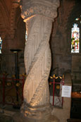 Photograph of The  Apprentice Pillar which is found in Rosslyn Chapel, Roslin, Scotland. Made famous in Dan Brown's novel The Da Vinci Code.