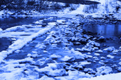 Ice formations on the Ford linking Moncreiffe Island on the River Tay to Rodney at Perth, Perthshire, Scotland