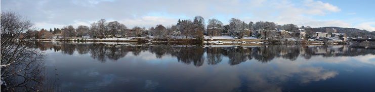 The River Tay looking over to Bridgend from The North Inch, Perth, Perthshire, Scotland