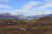 Eilean-a'Chaoil where Loch Sheildaig meets Upper Loch Torridon with the Torridon Mountains in the background, Wester Ross, Scotland