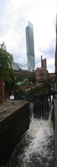 The Beetham Tower and the Rochdale Canal in the City of Manchester, England