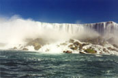 Niagara Falls on the border between Canada and USA