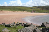 The Old Fishing Station beside the beach at Redpoint South near to Badachro, Wester Ross, Scotland