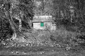 The Green Door on the Old Fishing Station at Campsie Linn on The River Tay at Campsie near The Guildtown, Perthshire, Scotland