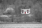 Cailness, the gamekeepers cottage of the shore of Loch Lomond, Argyll, Scotland