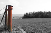 A gate post over looking the Earn Valley, Perthshire, Scotland