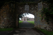 Scone Palace through the old gateway near the Mercat Cross, Scone, Perth, Perthshire, Scotland